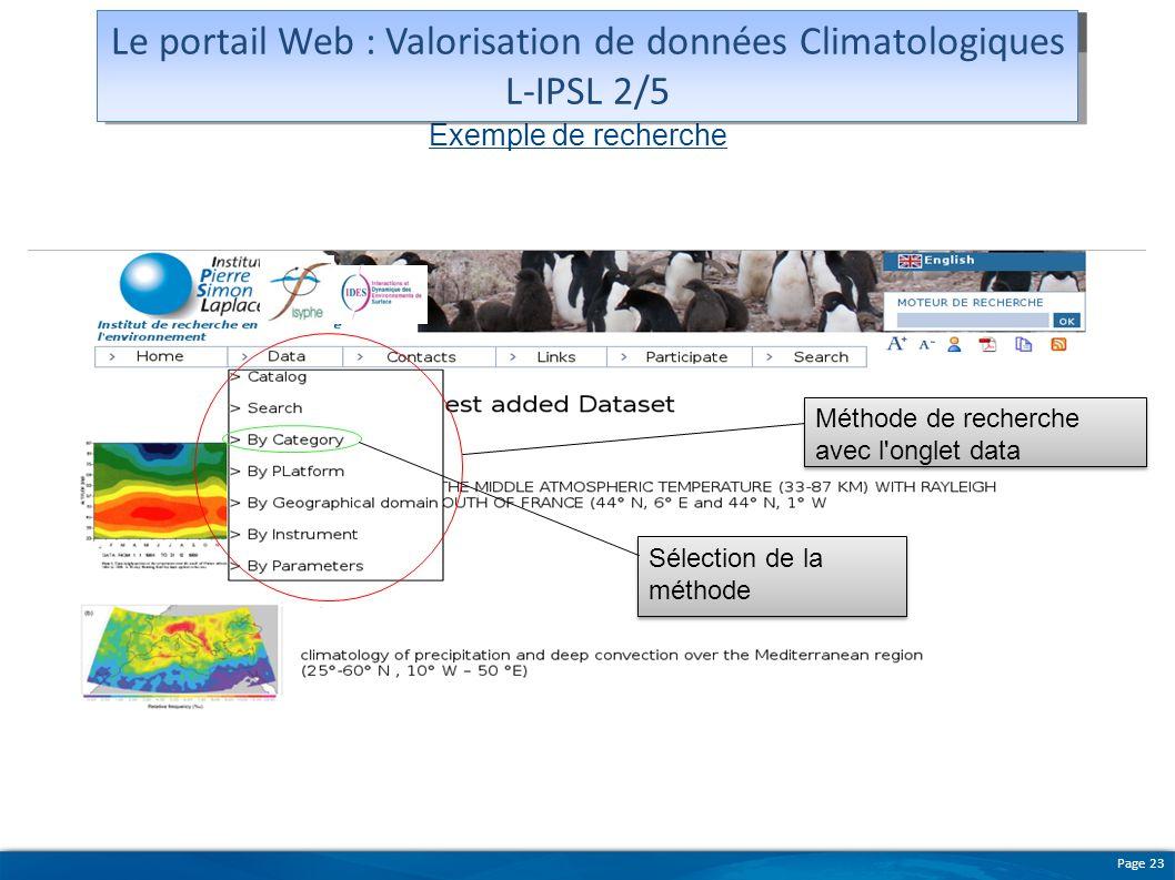 Page 23 Exemple de recherche Méthode de recherche avec l'onglet data Sélection de la méthode Maquette du portail Le portail Web : Valorisation de donn