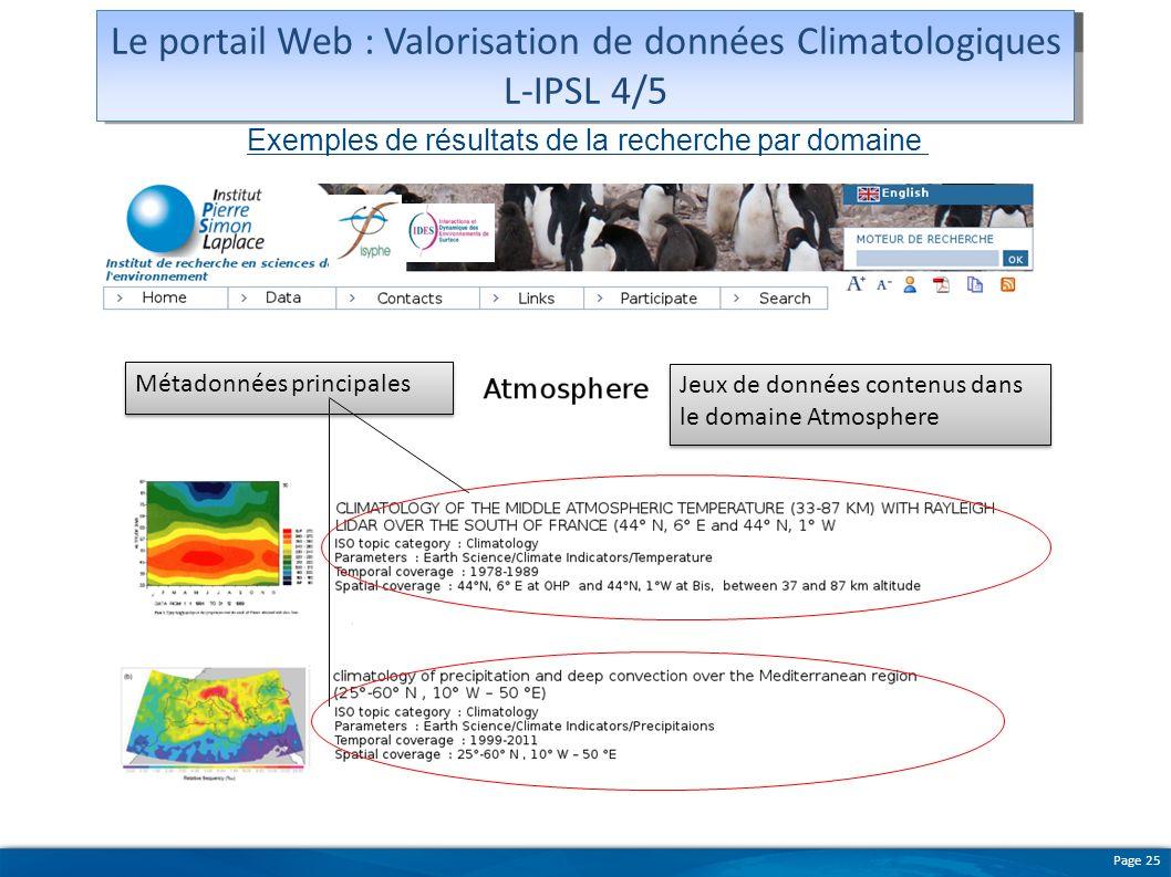 Page 25 Exemples de résultats de la recherche par domaine Jeux de données contenus dans le domaine Atmosphere Métadonnées principales Maquette du port