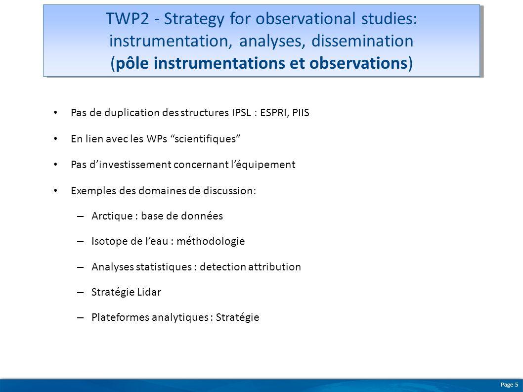 Page 5 Pas de duplication des structures IPSL : ESPRI, PIIS En lien avec les WPs scientifiques Pas dinvestissement concernant léquipement Exemples des
