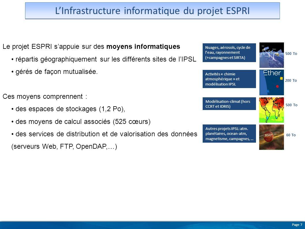 Page 7 LInfrastructure informatique du projet ESPRI Le projet ESPRI sappuie sur des moyens informatiques répartis géographiquement sur les différents