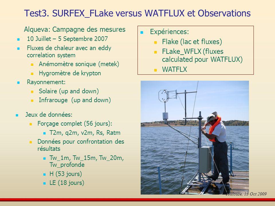 Alqueva: Campagne des mesures 10 Juillet – 5 Septembre 2007 Fluxes de chaleur avec an eddy correlation system Anémomètre sonique (metek) Hygromètre de krypton Rayonnement: Solaire (up and down) Infrarouge (up and down) Jeux de données: Forçage complet (56 jours): T2m, q2m, v2m, Rs, Ratm Données pour confrontation des résultats Tw_1m, Tw_15m, Tw_20m, Tw_profonde H (53 jours) LE (18 jours) Expériences: Flake (lac et fluxes) FLake_WFLX (fluxes calculated pour WATFLUX) WATFLX Test3.