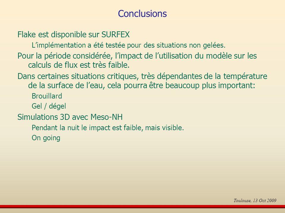 Conclusions Flake est disponible sur SURFEX Limplémentation a été testée pour des situations non gelées.