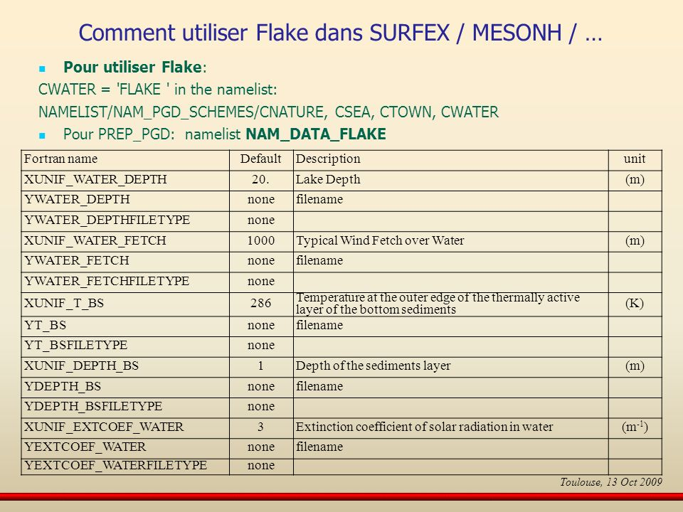 Pour utiliser Flake: CWATER = 'FLAKE ' in the namelist: NAMELIST/NAM_PGD_SCHEMES/CNATURE, CSEA, CTOWN, CWATER Pour PREP_PGD: namelist NAM_DATA_FLAKE F