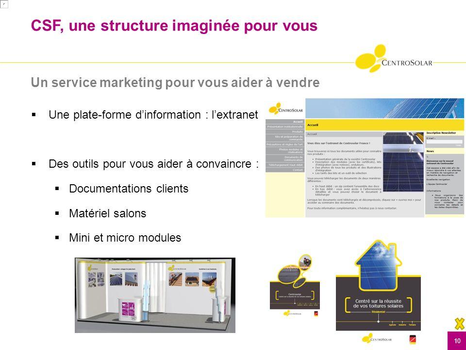 Un service marketing pour vous aider à vendre 10 Une plate-forme dinformation : lextranet Des outils pour vous aider à convaincre : Documentations clients Matériel salons Mini et micro modules CSF, une structure imaginée pour vous