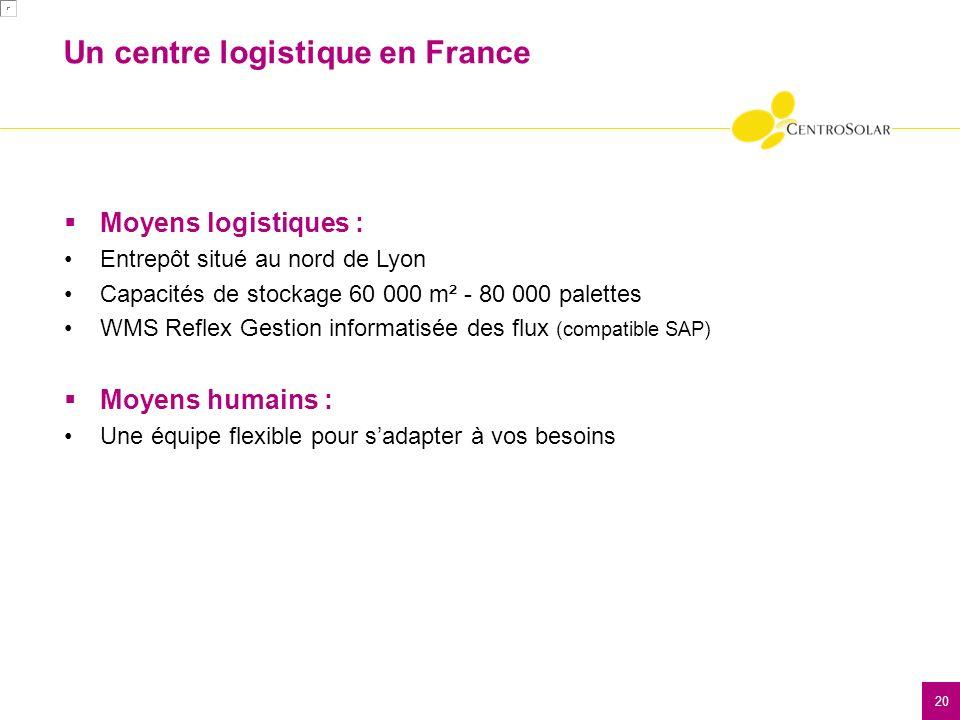 20 Moyens logistiques : Entrepôt situé au nord de Lyon Capacités de stockage 60 000 m² - 80 000 palettes WMS Reflex Gestion informatisée des flux (compatible SAP) Moyens humains : Une équipe flexible pour sadapter à vos besoins Un centre logistique en France