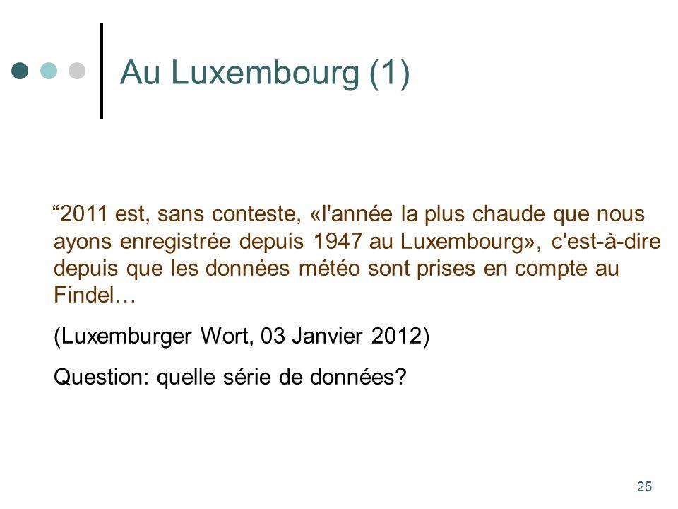 25 Au Luxembourg (1) 2011 est, sans conteste, «l année la plus chaude que nous ayons enregistrée depuis 1947 au Luxembourg», c est-à-dire depuis que les données météo sont prises en compte au Findel… (Luxemburger Wort, 03 Janvier 2012) Question: quelle série de données