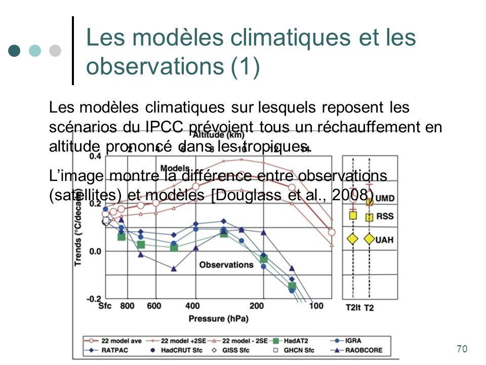 70 Les modèles climatiques et les observations (1) Les modèles climatiques sur lesquels reposent les scénarios du IPCC prévoient tous un réchauffement en altitude prononcé dans les tropiques.