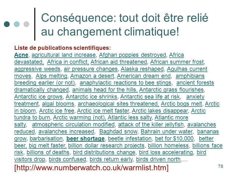 76 Conséquence: tout doit être relié au changement climatique.