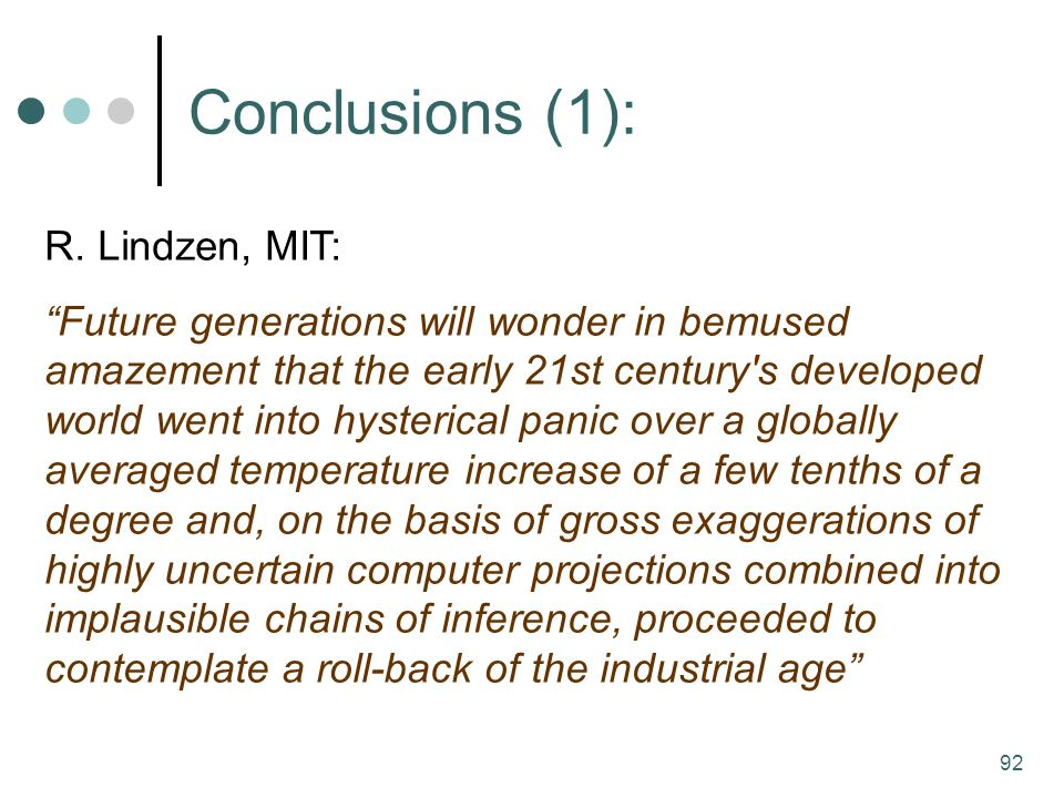 92 Conclusions (1): R.