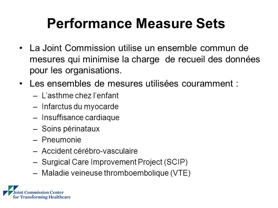 Performance Measure Sets La Joint Commission utilise un ensemble commun de mesures qui minimise la charge de recueil des données pour les organisations.