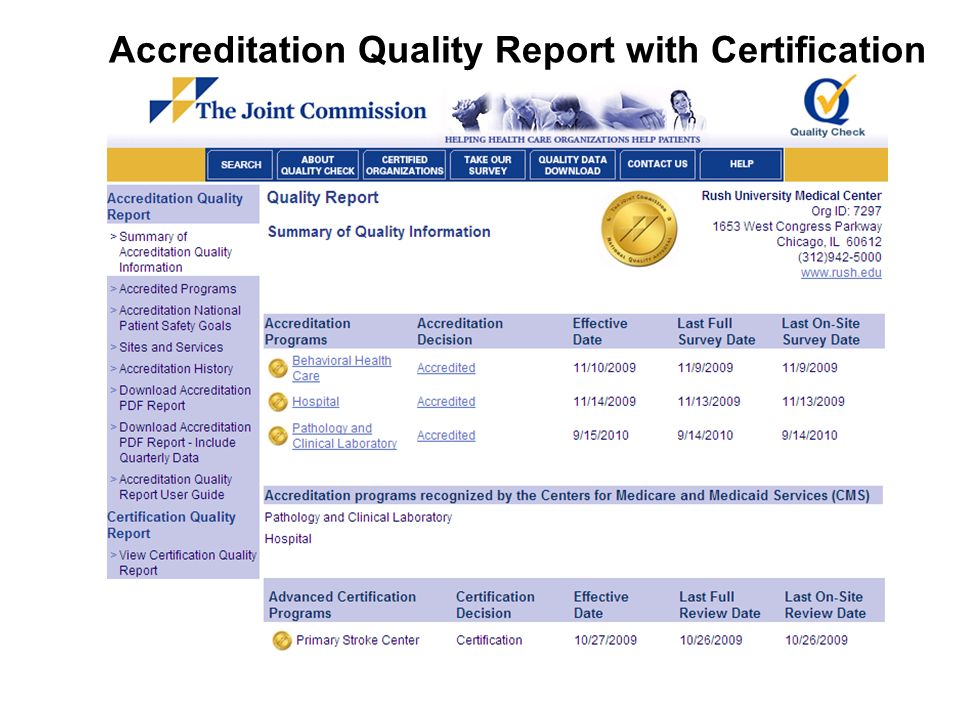 Accreditation Quality Report with Certification