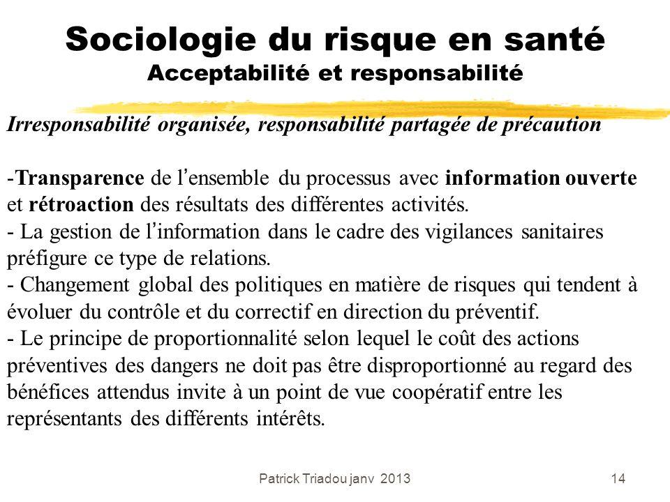 Patrick Triadou janv 201314 Sociologie du risque en santé Acceptabilité et responsabilité Irresponsabilité organisée, responsabilité partagée de préca