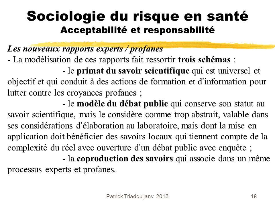 Patrick Triadou janv 201318 Sociologie du risque en santé Acceptabilité et responsabilité Les nouveaux rapports experts / profanes - La modélisation d