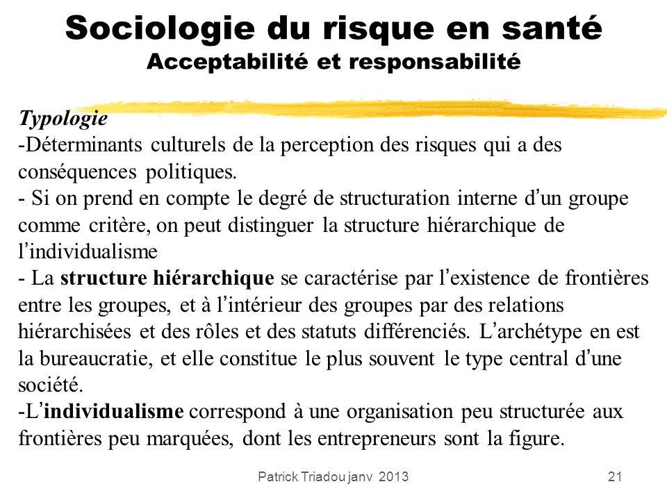 Patrick Triadou janv 201321 Sociologie du risque en santé Acceptabilité et responsabilité Typologie -Déterminants culturels de la perception des risqu