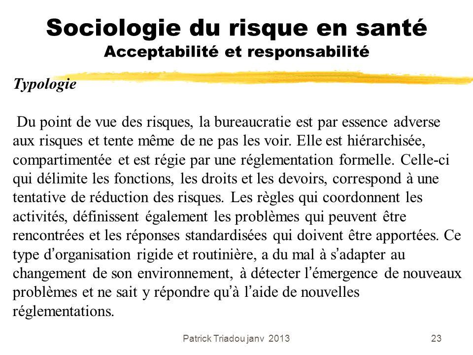 Patrick Triadou janv 201323 Sociologie du risque en santé Acceptabilité et responsabilité Typologie Du point de vue des risques, la bureaucratie est p