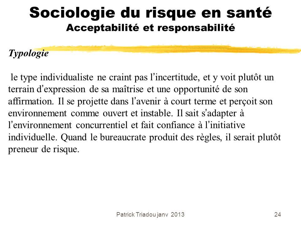 Patrick Triadou janv 201324 Sociologie du risque en santé Acceptabilité et responsabilité Typologie le type individualiste ne craint pas lincertitude,
