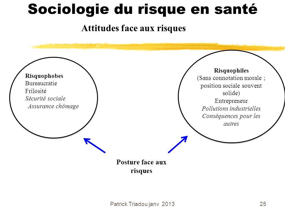 Patrick Triadou janv 201325 Sociologie du risque en santé Attitudes face aux risques Risquophobes Bureaucratie Frilosité Sécurité sociale Assurance ch