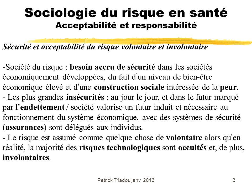 Patrick Triadou janv 20133 Sociologie du risque en santé Acceptabilité et responsabilité Sécurité et acceptabilité du risque volontaire et involontair