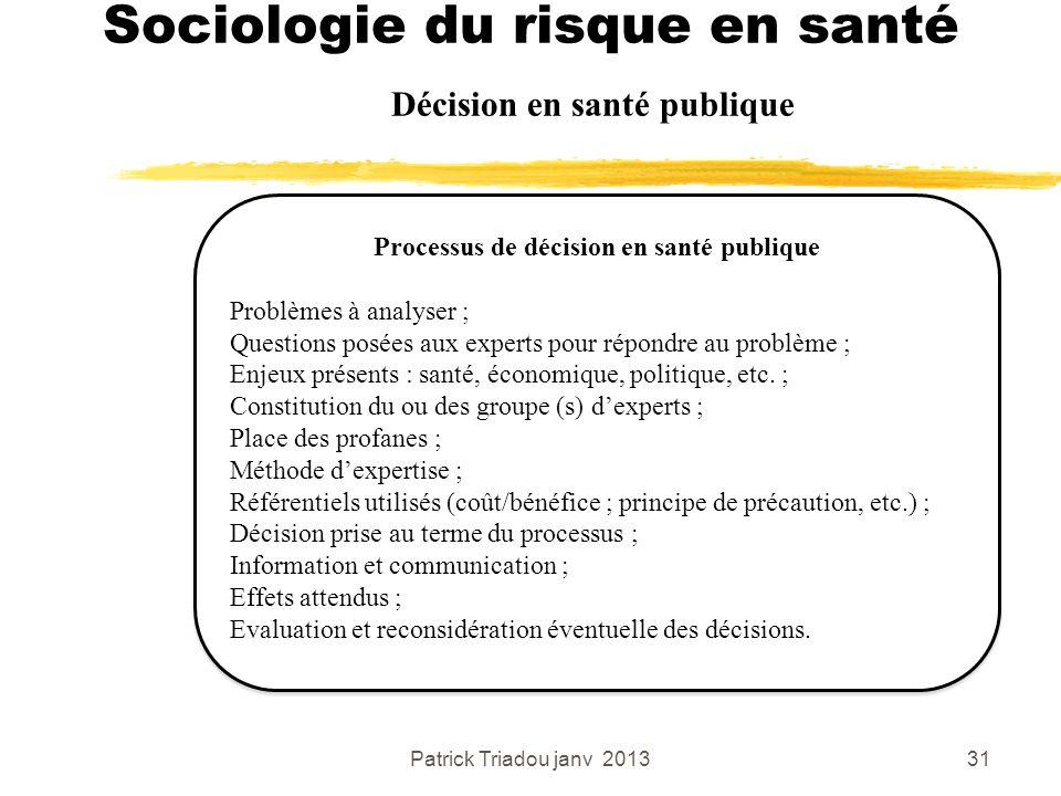 Patrick Triadou janv 201331 Sociologie du risque en santé Décision en santé publique Processus de décision en santé publique Problèmes à analyser ; Qu