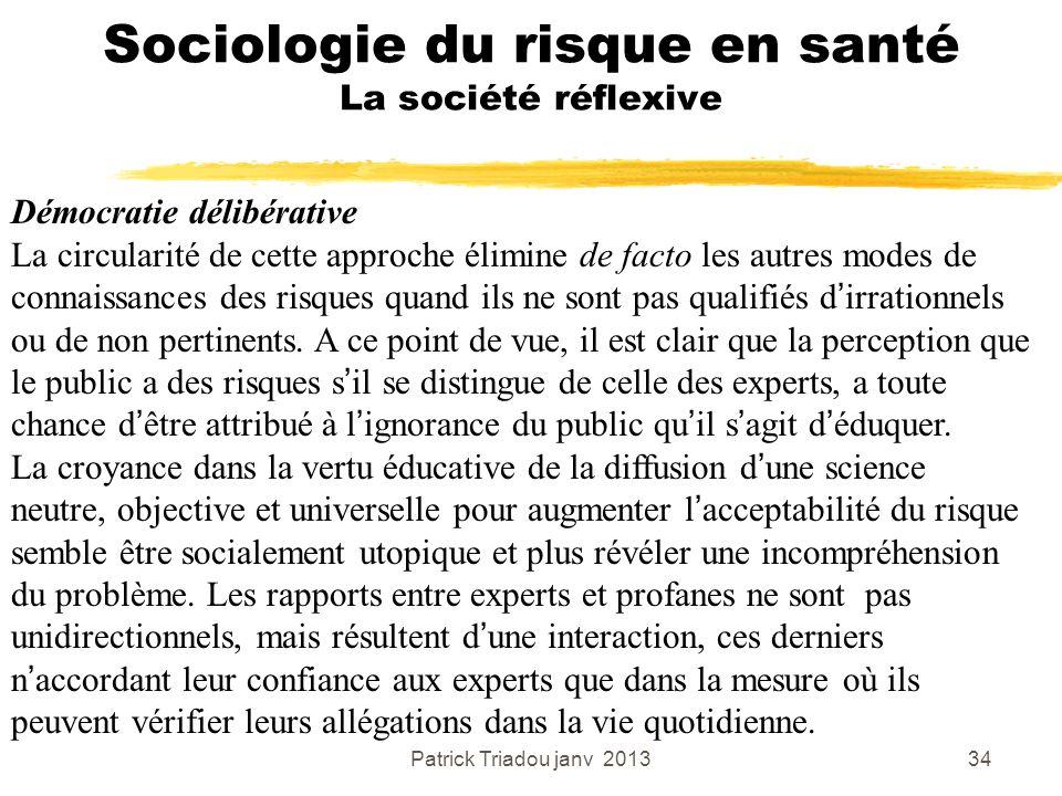 Patrick Triadou janv 201334 Sociologie du risque en santé La société réflexive Démocratie délibérative La circularité de cette approche élimine de fac