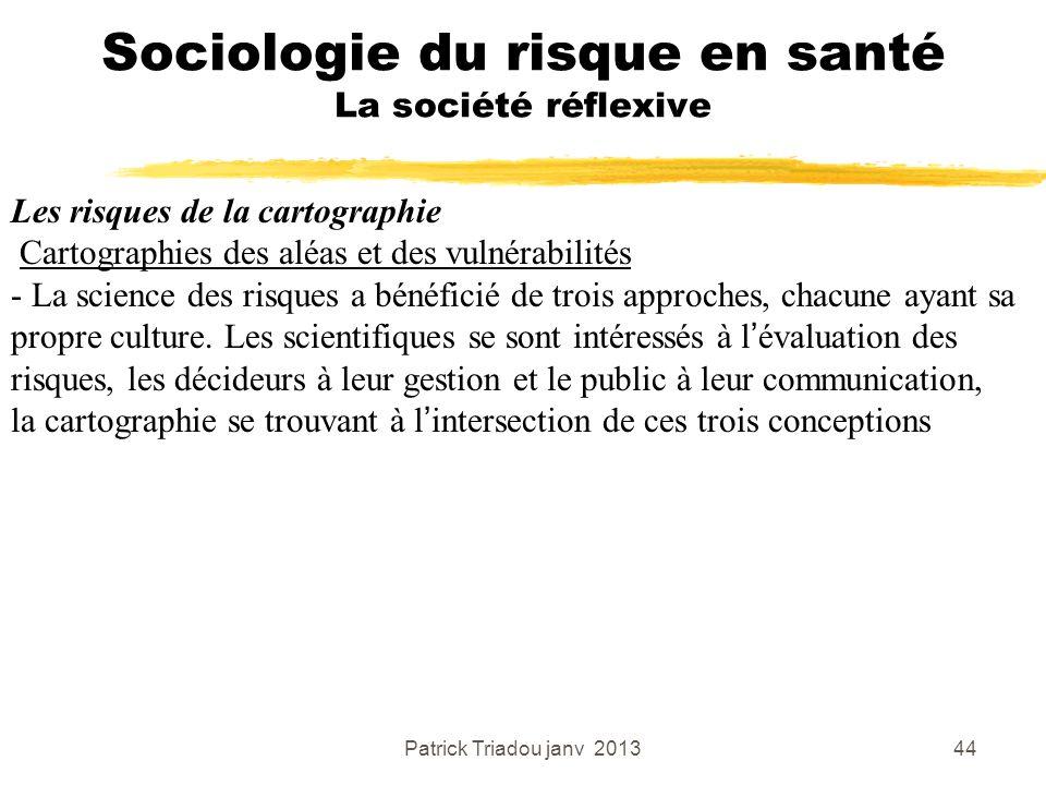 Patrick Triadou janv 201344 Sociologie du risque en santé La société réflexive Les risques de la cartographie Cartographies des aléas et des vulnérabi