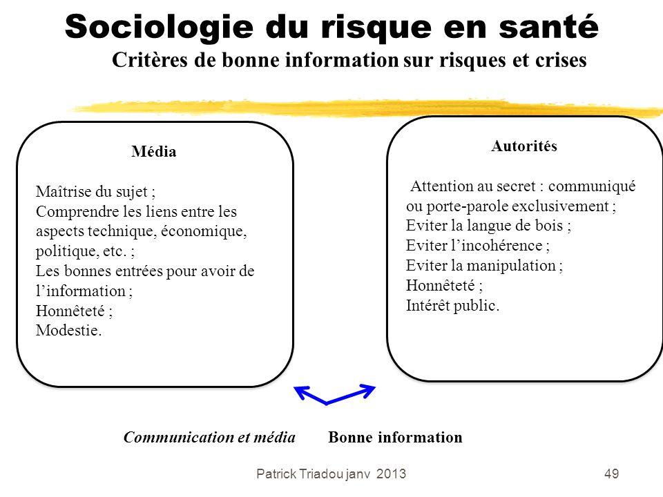 Patrick Triadou janv 201349 Sociologie du risque en santé Critères de bonne information sur risques et crises Média Maîtrise du sujet ; Comprendre les