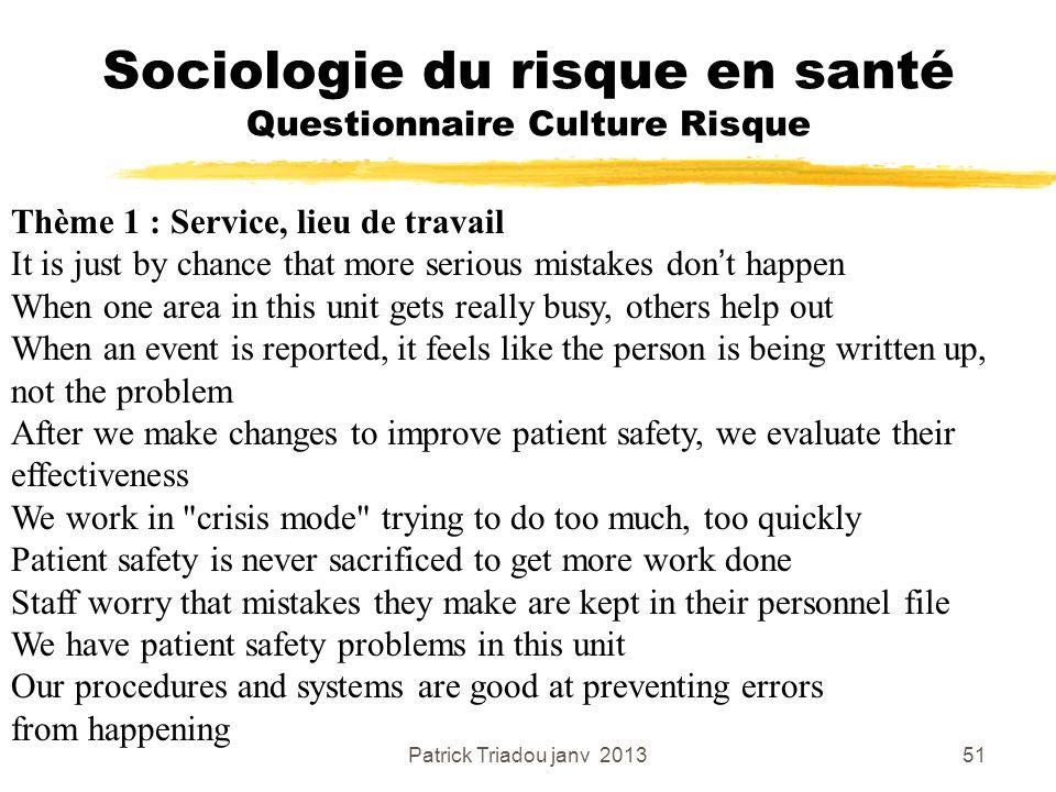 Patrick Triadou janv 201351 Sociologie du risque en santé Questionnaire Culture Risque Thème 1 : Service, lieu de travail It is just by chance that mo