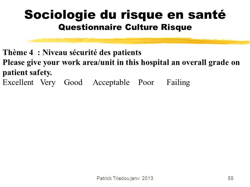 Patrick Triadou janv 201355 Sociologie du risque en santé Questionnaire Culture Risque Thème 4 : Niveau sécurité des patients Please give your work ar