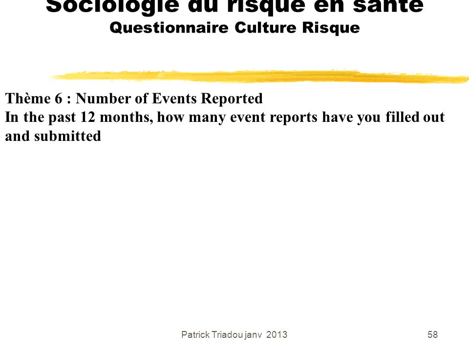 Patrick Triadou janv 201358 Sociologie du risque en santé Questionnaire Culture Risque Thème 6 : Number of Events Reported In the past 12 months, how