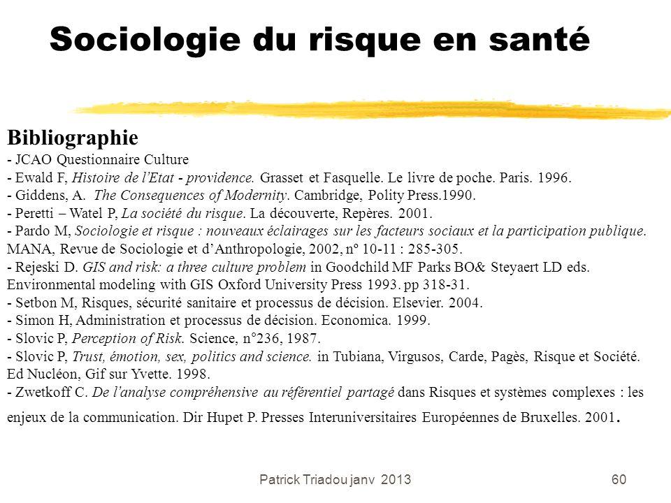 Patrick Triadou janv 201360 Sociologie du risque en santé Bibliographie - JCAO Questionnaire Culture - Ewald F, Histoire de lEtat - providence. Grasse