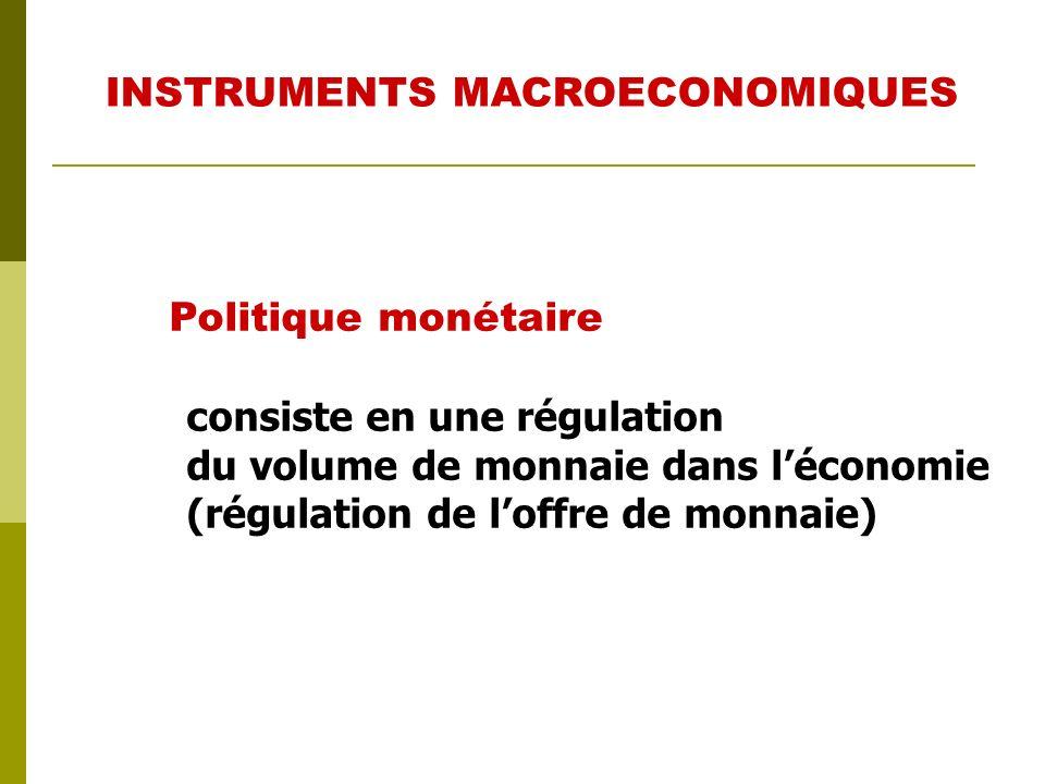 Politique budgétaire Elle agit par lintermédiaire du budget (impôts, dépenses publiques,...) INSTRUMENTS MACROECONOMIQUES
