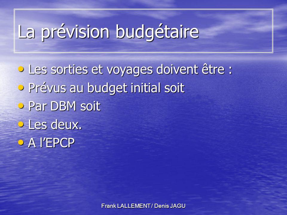 Frank LALLEMENT / Denis JAGU La prévision budgétaire Les sorties et voyages doivent être : Les sorties et voyages doivent être : Prévus au budget initial soit Prévus au budget initial soit Par DBM soit Par DBM soit Les deux.