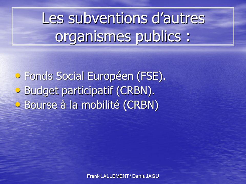 Frank LALLEMENT / Denis JAGU Les subventions dautres organismes publics : Fonds Social Européen (FSE).