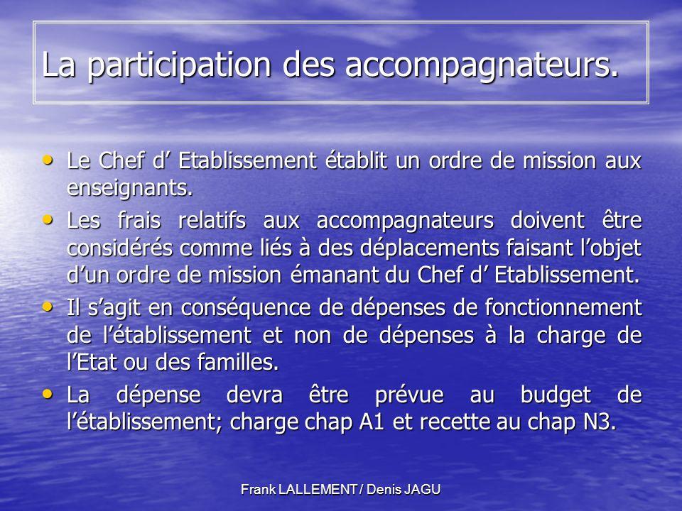 Frank LALLEMENT / Denis JAGU La participation des accompagnateurs.