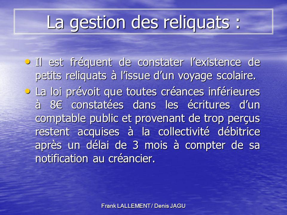 Frank LALLEMENT / Denis JAGU La gestion des reliquats : Il est fréquent de constater lexistence de petits reliquats à lissue dun voyage scolaire.