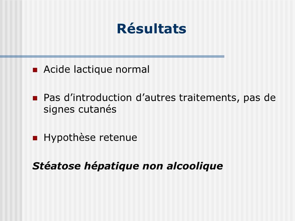 Résultats Acide lactique normal Pas dintroduction dautres traitements, pas de signes cutanés Hypothèse retenue Stéatose hépatique non alcoolique
