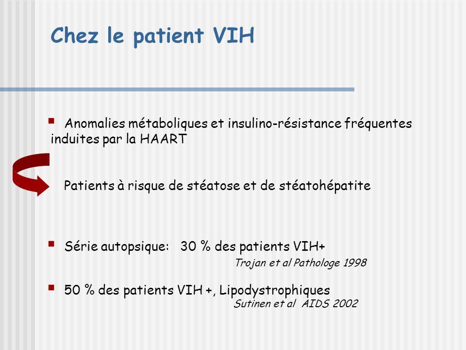 Chez le patient VIH Anomalies métaboliques et insulino-résistance fréquentes induites par la HAART Patients à risque de stéatose et de stéatohépatite