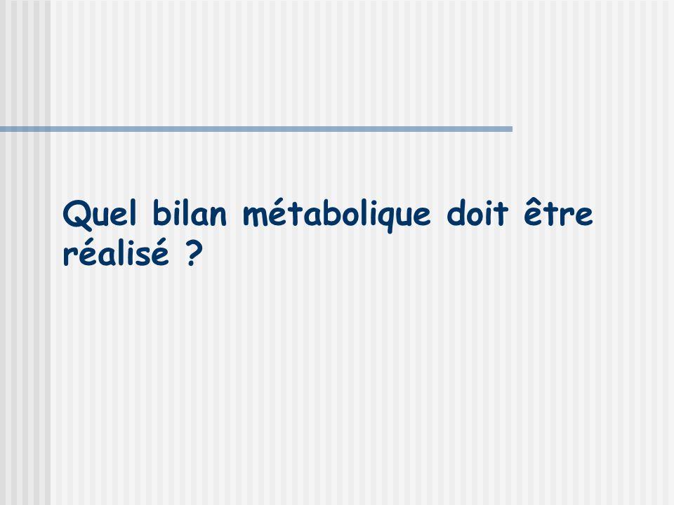 Quel bilan métabolique doit être réalisé ?