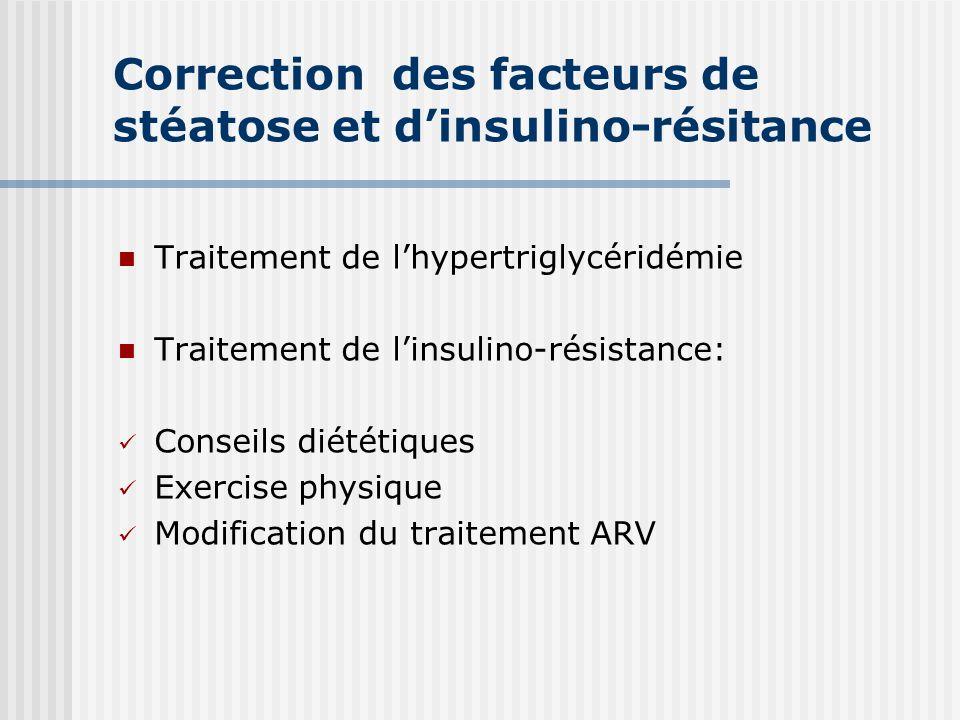 Correction des facteurs de stéatose et dinsulino-résitance Traitement de lhypertriglycéridémie Traitement de linsulino-résistance: Conseils diététique