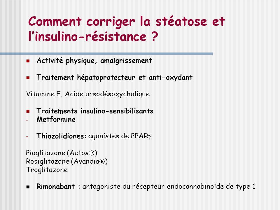 Comment corriger la stéatose et linsulino-résistance ? Activité physique, amaigrissement Traitement hépatoprotecteur et anti-oxydant Vitamine E, Acide