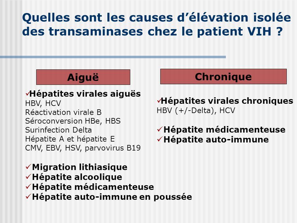 Quelles sont les causes délévation isolée des transaminases chez le patient VIH ? Aiguë Hépatites virales aiguës HBV, HCV Réactivation virale B Séroco
