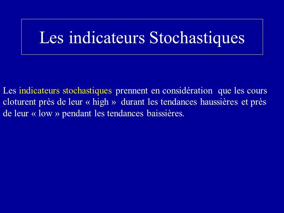 Les indicateurs Stochastiques Les indicateurs stochastiques prennent en considération que les cours cloturent près de leur « high » durant les tendances haussières et près de leur « low » pendant les tendances baissières.