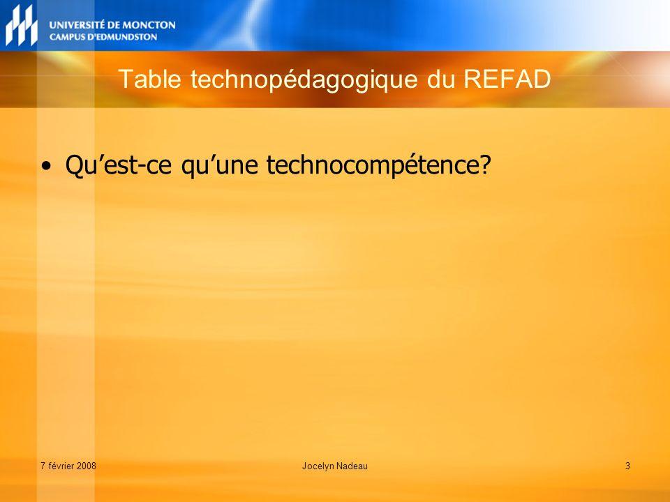 7 février 2008Jocelyn Nadeau3 Quest-ce quune technocompétence Table technopédagogique du REFAD