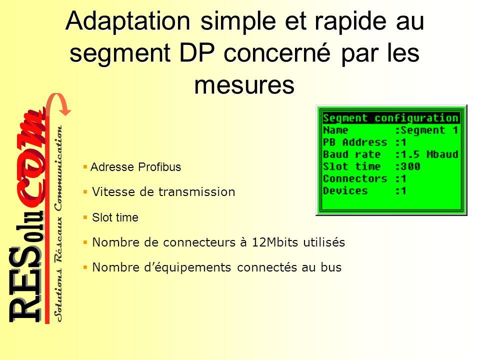 Solutions Réseaux Communication COM olu RES Adaptation simple et rapide au segment DP concerné par les mesures Adresse Profibus Vitesse de transmissio