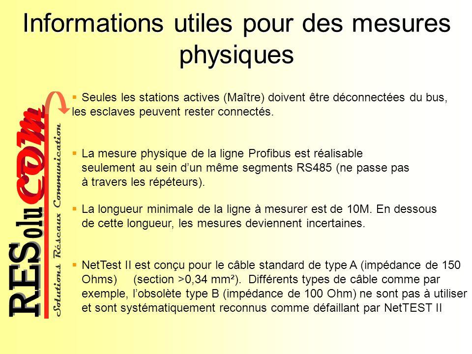 Solutions Réseaux Communication COM olu RES Informations utiles pour des mesures physiques La mesure physique de la ligne Profibus est réalisable seul