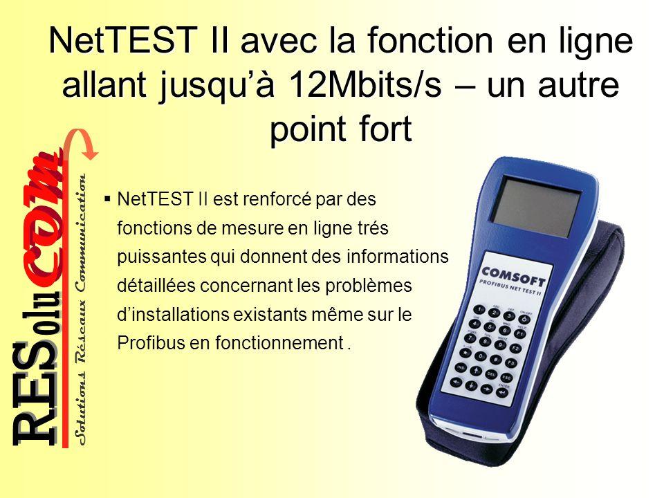 Solutions Réseaux Communication COM olu RES NetTEST II avec la fonction en ligne allant jusquà 12Mbits/s – un autre point fort NetTEST II est renforcé