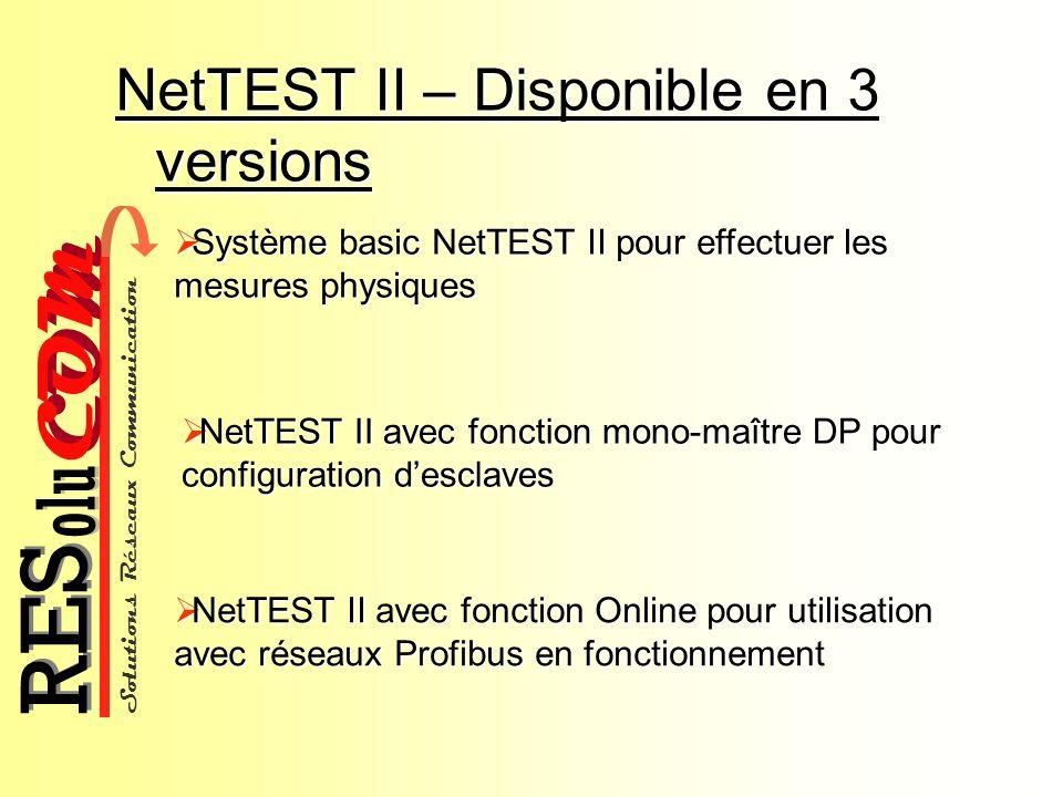 Solutions Réseaux Communication COM olu RES NetTEST II – Disponible en 3 versions NetTEST II avec fonction Online pour utilisation avec réseaux Profib