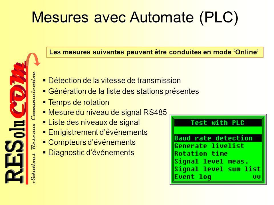Solutions Réseaux Communication COM olu RES Mesures avec Automate (PLC) Détection de la vitesse de transmission Génération de la liste des stations pr