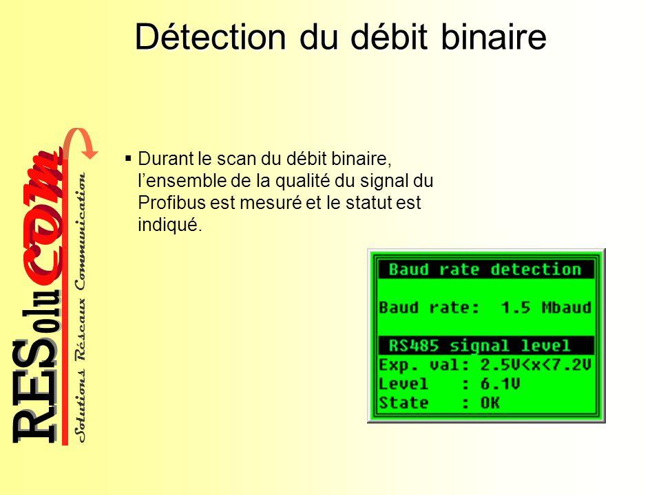 Solutions Réseaux Communication COM olu RES Détection du débit binaire Durant le scan du débit binaire, lensemble de la qualité du signal du Profibus