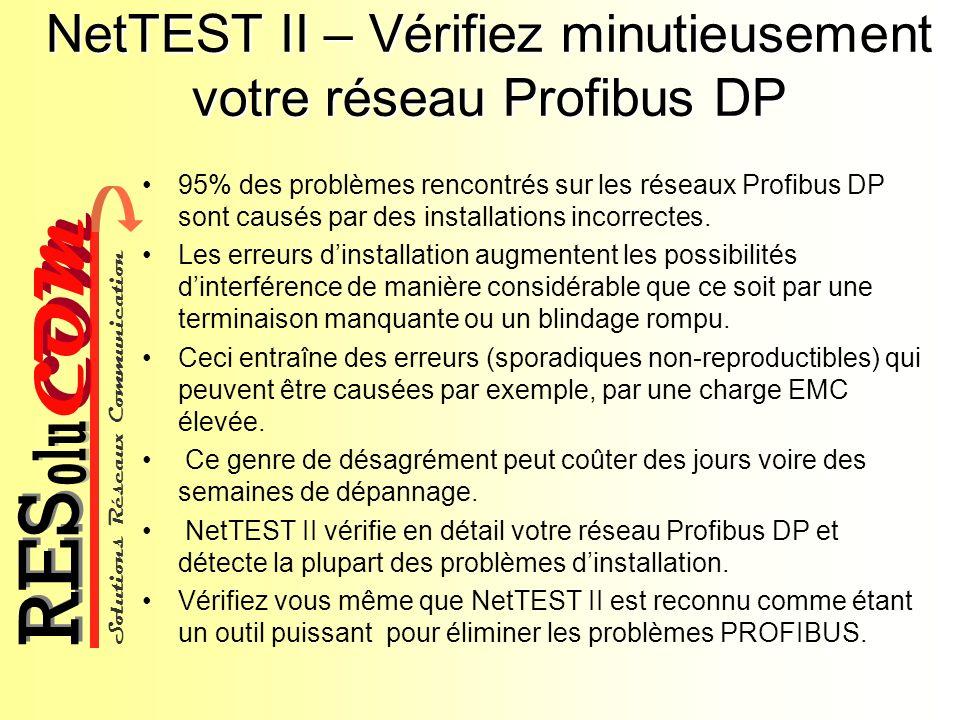 Solutions Réseaux Communication COM olu RES NetTEST II – Vérifiez minutieusement votre réseau Profibus DP 95% des problèmes rencontrés sur les réseaux
